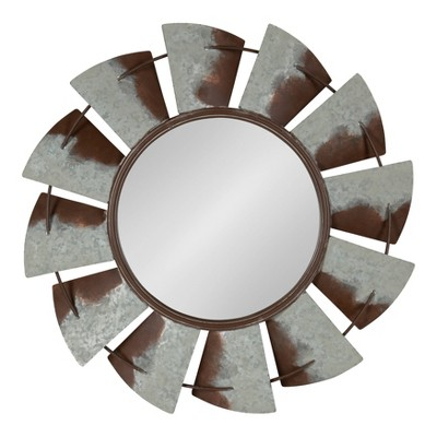 "32"" Millbrook Windmill Metal Wall Mirror Silver - Kate and Laurel"