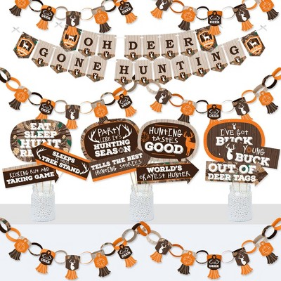 Big Dot of Happiness Gone Hunting - Banner and Photo Booth Decor - Deer Hunting Camo Baby Shower or Birthday Party Supplies Kit - Doterrific Bundle