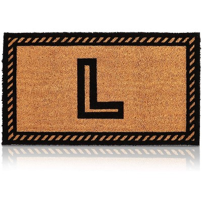 Letter L Welcome Mat, Natural Coir Doormat (30 x 17 Inches)