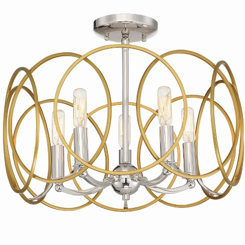 """Minka Lavery 4025 Chassell 5 Light 18"""" Wide Semi-Flush Drum Ceiling Fixture / Chandelier - image 1 of 1"""