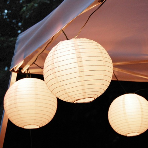 10ct Lumabase White Electric String Light With 10 Paper Lanterns Target