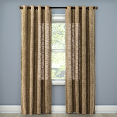 "108""x54"" Textured Weave Light Filtering Curtain Panel Tan - Threshold™"