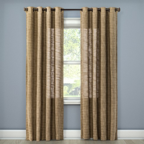 95 X54 Textured Weave Light Filtering, Tan And Brown Curtains