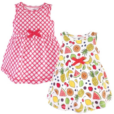Touched by Nature Baby and Toddler Girl Organic Cotton Sleeveless Dresses 2pk, Fruit