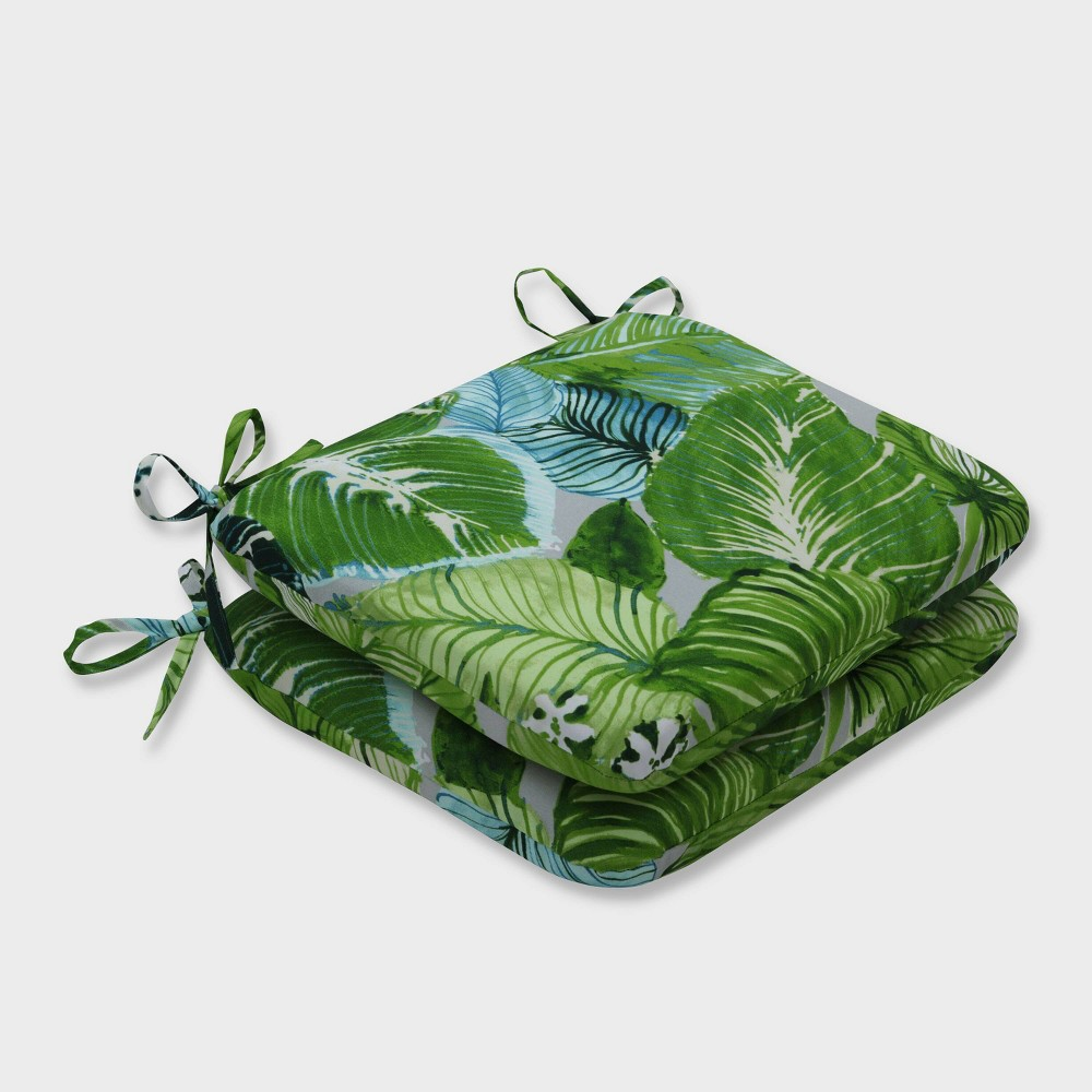 2pk Lush Leaf Jungle Rounded Corners Outdoor Seat Cushions Green - Pillow Perfect
