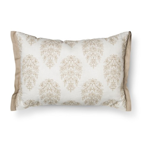 "Cream Damask Embroidered Oblong Throw Pillow (14""x20"") - Threshold™ - image 1 of 2"