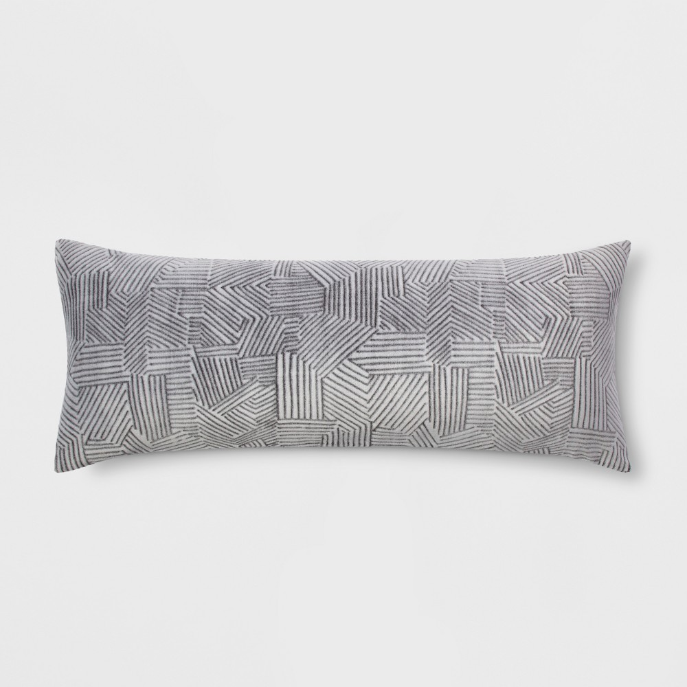 Embossed Body Pillow Cover Gray - Room Essentials