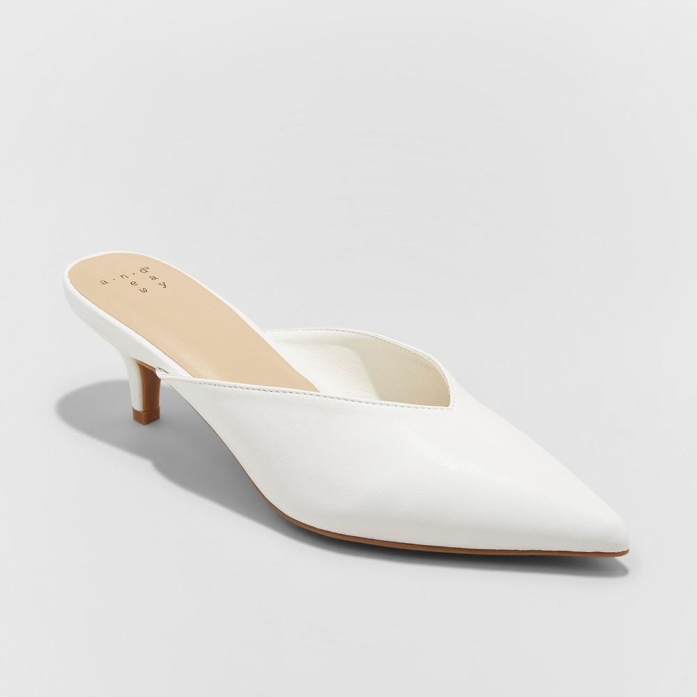 Women's Aleksa Wide Width Low Vamp Kitten Mules - A New Day White 9.5W, Size: 9.5Wide
