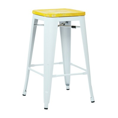 """26"""" Osp Designs Bristow Antique Metal Counter Height Barstool with Vintage Wood Seat - White/Yellow"""