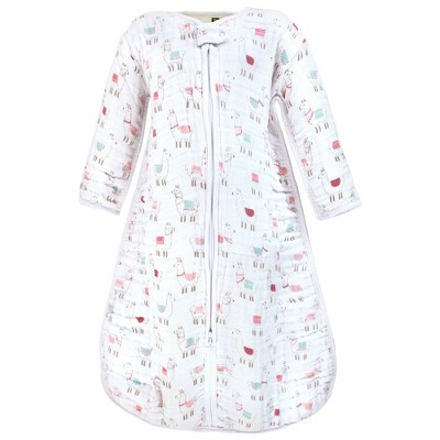 Hudson Baby Infant Girl Long Sleeve Muslin Sleeping Bag, Wearable Blanket, Sleep Sack, Llama