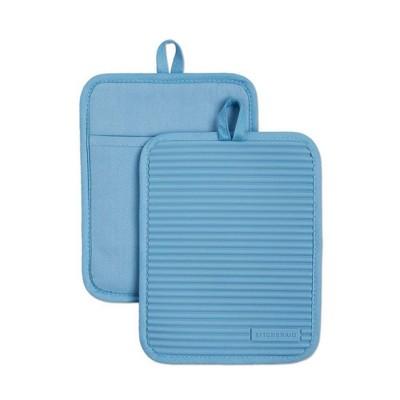 KitchenAid 2pk Silicone Ribbed Pot Holders Light Blue