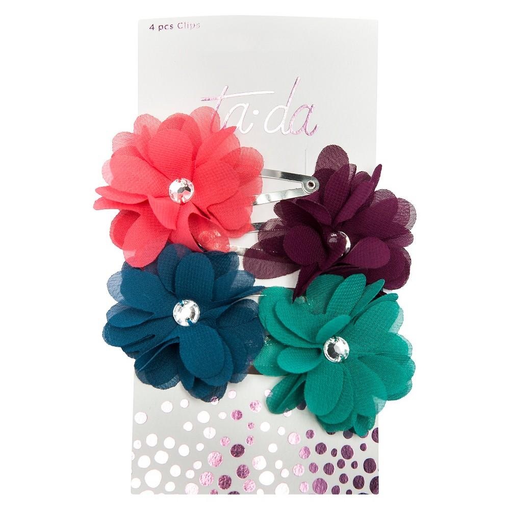 Ta-da Girls' Flowery Gem Contour Clips - 4ct, Multi-Colored