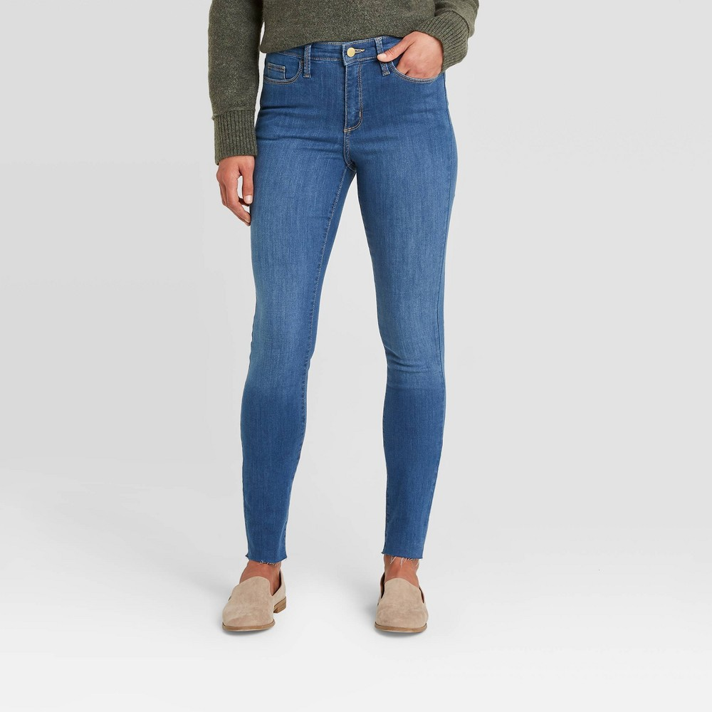 Women 39 S High Rise Skinny Jeans Universal Thread 8482 Midnight Blue 00 Long
