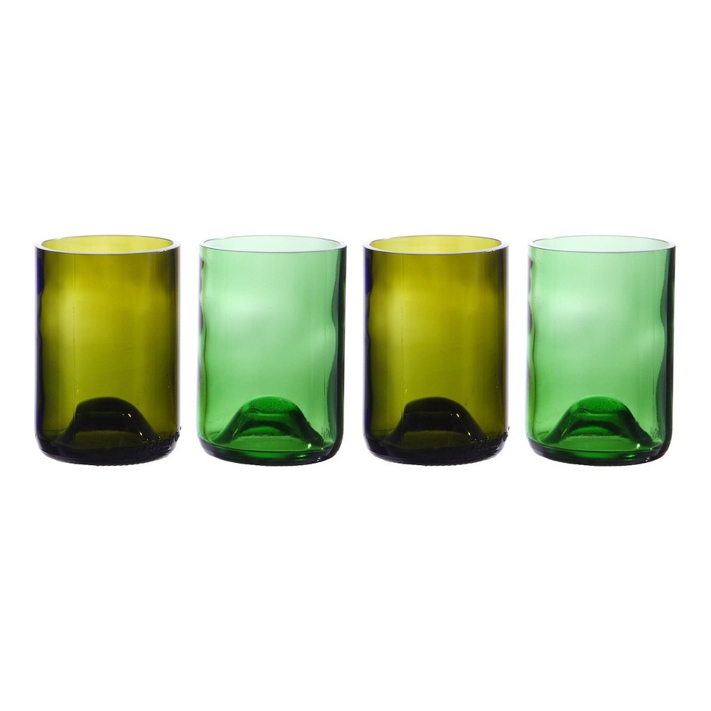 Image of Oenophilia Wine Bottle Tumblers, 10oz Set of 4, Assorted, Multi-Colored