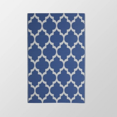 4'x6' Anillo Outdoor Modern Scatter Rug Night Blue/White - Christopher Knight Home