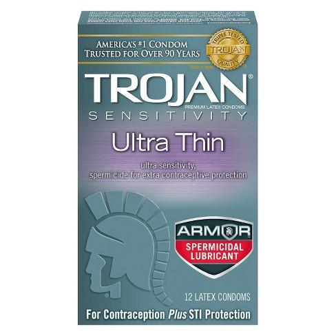Trojan Sensitivity Ultra Thin Spermicidal Lubricant Condoms 12ct