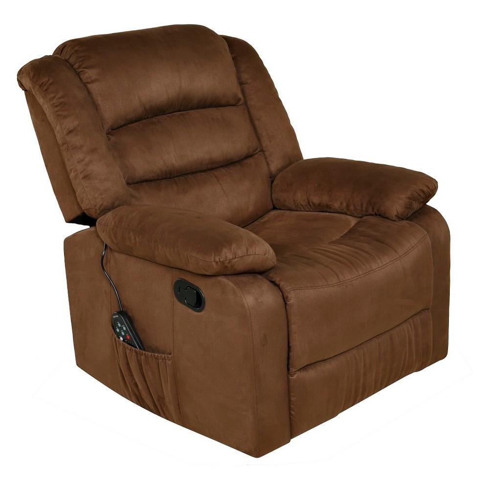 Image of 2pc Relaxzen Rocker Recliner With Heat Massage Usb Microfiber Brown