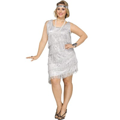Fun World Shimmery Flapper Plus Size Costume (Silver)