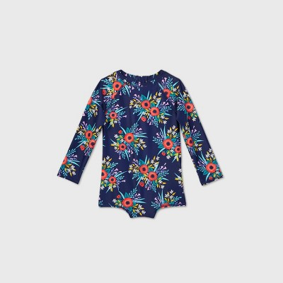 Toddler Girls' Floral Long Sleeve One Piece Swimsuit - Cat & Jack™ Navy