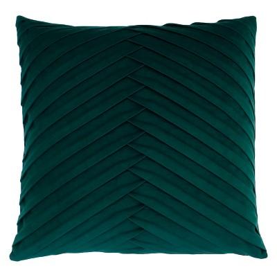 James Pleated Velvet Oversize Square Throw Pillow Dark Green - Decor Therapy