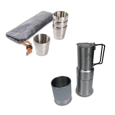 nCamp Basic 6 Ounce Stainless Steel Stackable Cups Camping Set and Carry Bag (4 Pack) Bundle with Outdoor Camping Espresso Style Café Coffee Maker