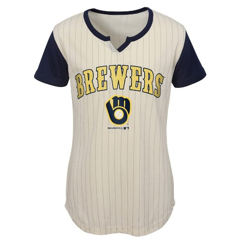 best loved ab0c6 c64ab MLB Milwaukee Brewers Girls' In the Game Cream Pinstripe T-Shirt