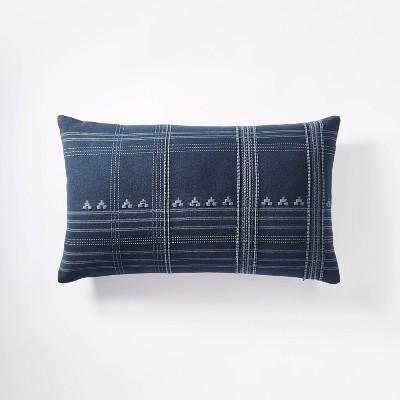 Oversized Woven Textured Lumbar Throw Pillow Dark Blue - Threshold™ designed with Studio McGee