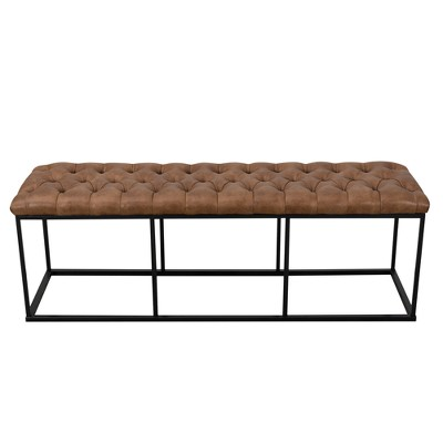 52.25  Draper Large Decorative Bench with Button Tufting Light Brown Faux Leather - Homepop