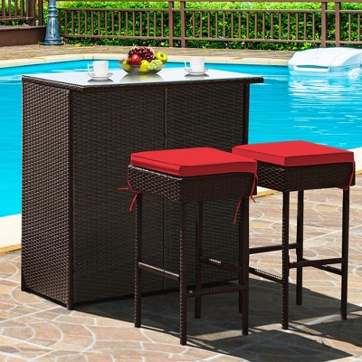 Costway 3PCS Patio Rattan Wicker Bar Table Stools Dining Set Cushioned Chairs Garden Red
