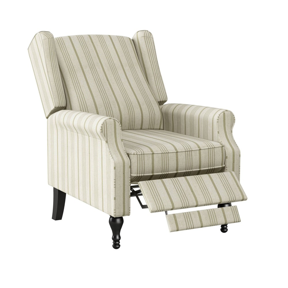 Lise Wingback Push Back Recliner Chair Striped Tan Prolounger