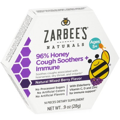 Zarbee's Naturals 96% Honey Cough Soother + Immune Support Lozenges - Mixed Berry - 14ct