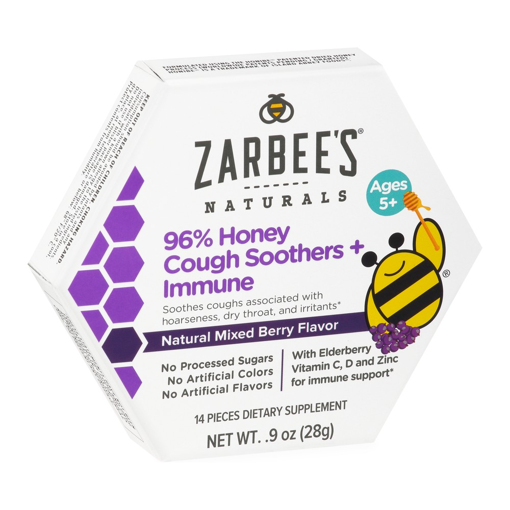 Zarbee S Naturals 96 Honey Cough Soother Immune Support Lozenges Mixed Berry 14ct