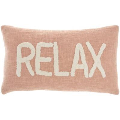 "12""x21"" Oversize Life Styles 'Relax' Tufted Lumbar Throw Pillow - Mina Victory"