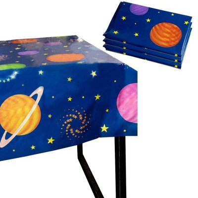 """Blue Panda 3-Pack Outer Space Planet Disposable Plastic Tablecloth Table Covers Kids Party Supplies 54""""x108"""""""