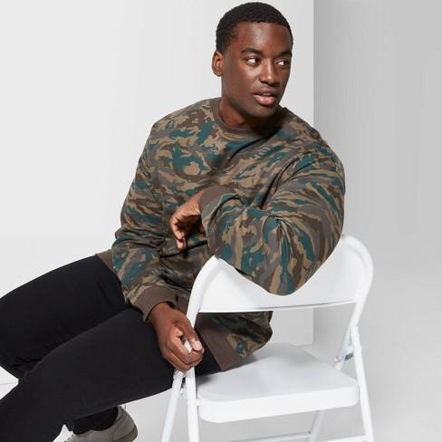 Men's Big & Tall Camo Print Loose Fit Drop Shoulder French Terry Crew Neck Sweatshirt - Original Use™ Paris Green - image 1 of 3