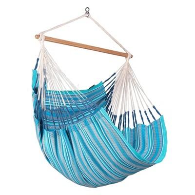 La Siesta HAL18-19 Habana Organic Cotton Indoor or Outdoor Hanging Ceiling Bamboo Lounger Hammock Chair Swing Comfort Size, Azure Blue