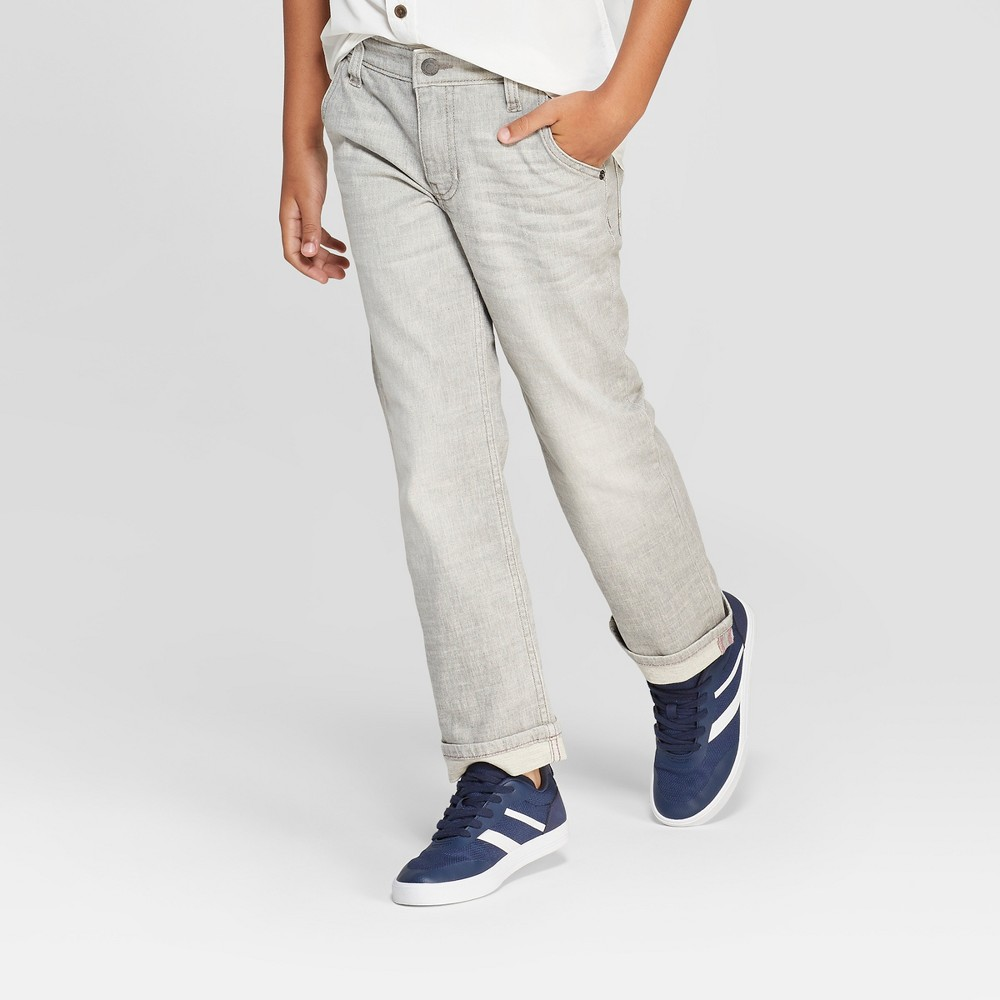 Boys' Spirited Straight Jeans - Cat & Jack Gray 12 Husky