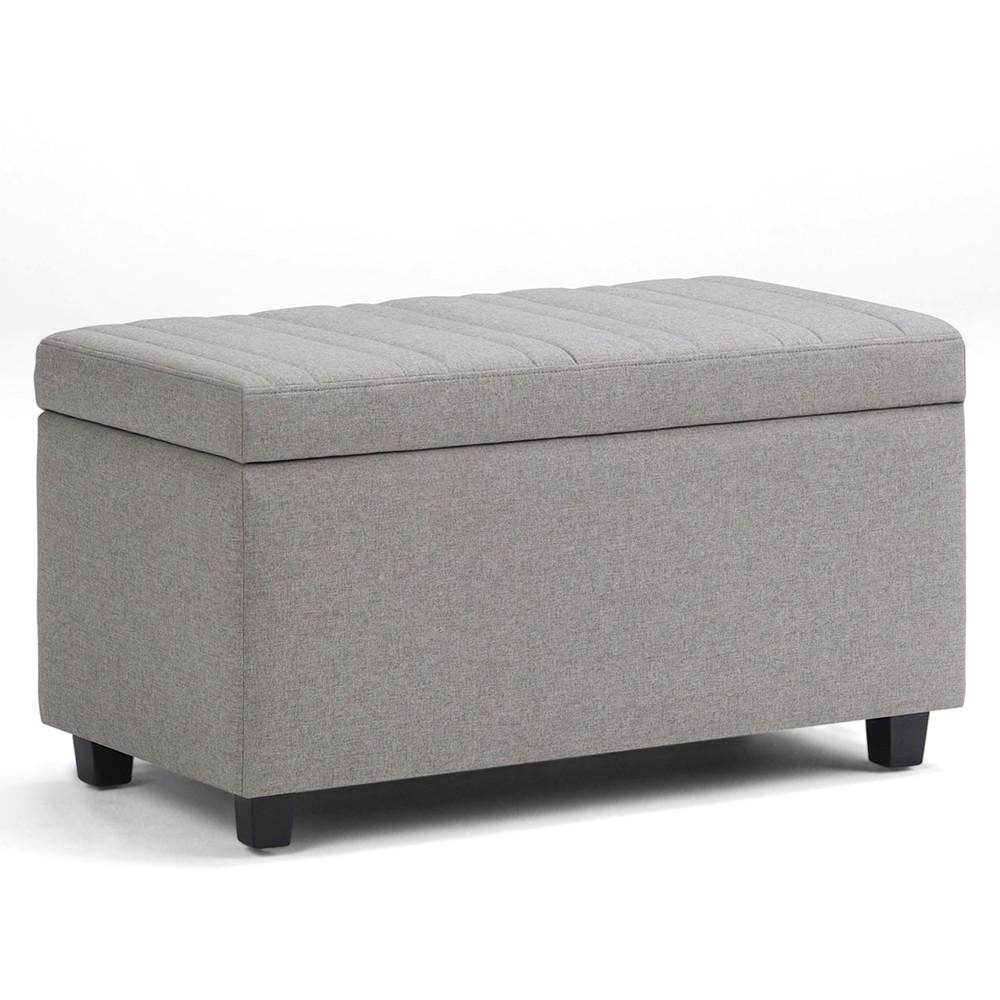 Wondrous Callum Storage Ottoman Bench Dove Gray Linen Look Fabric Inzonedesignstudio Interior Chair Design Inzonedesignstudiocom