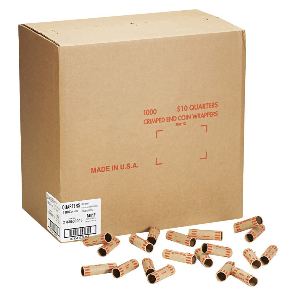 Image of MMF Industries Preformed Tubular Coin Wrappers - Quarters - $10 - 1000 Wrappers Per Box