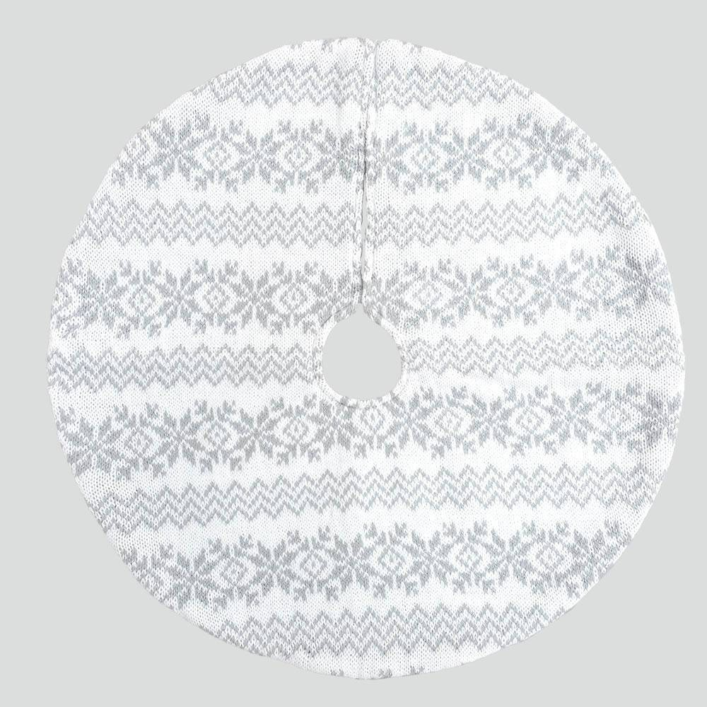 Image of 18 Mini Fair Isle Christmas Tree Skirt Gray and White - Wondershop , Gray White