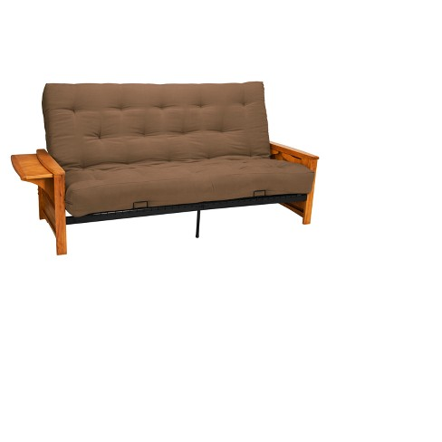 "8"" Brooklyn Cotton/Foam Futon Sofa Sleeper Oak Wood Finish Pecan - Epic Furnishings - image 1 of 4"