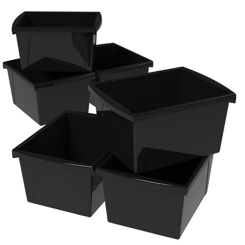 Storex 4gal 6pk Classroom Storage Bins - Black
