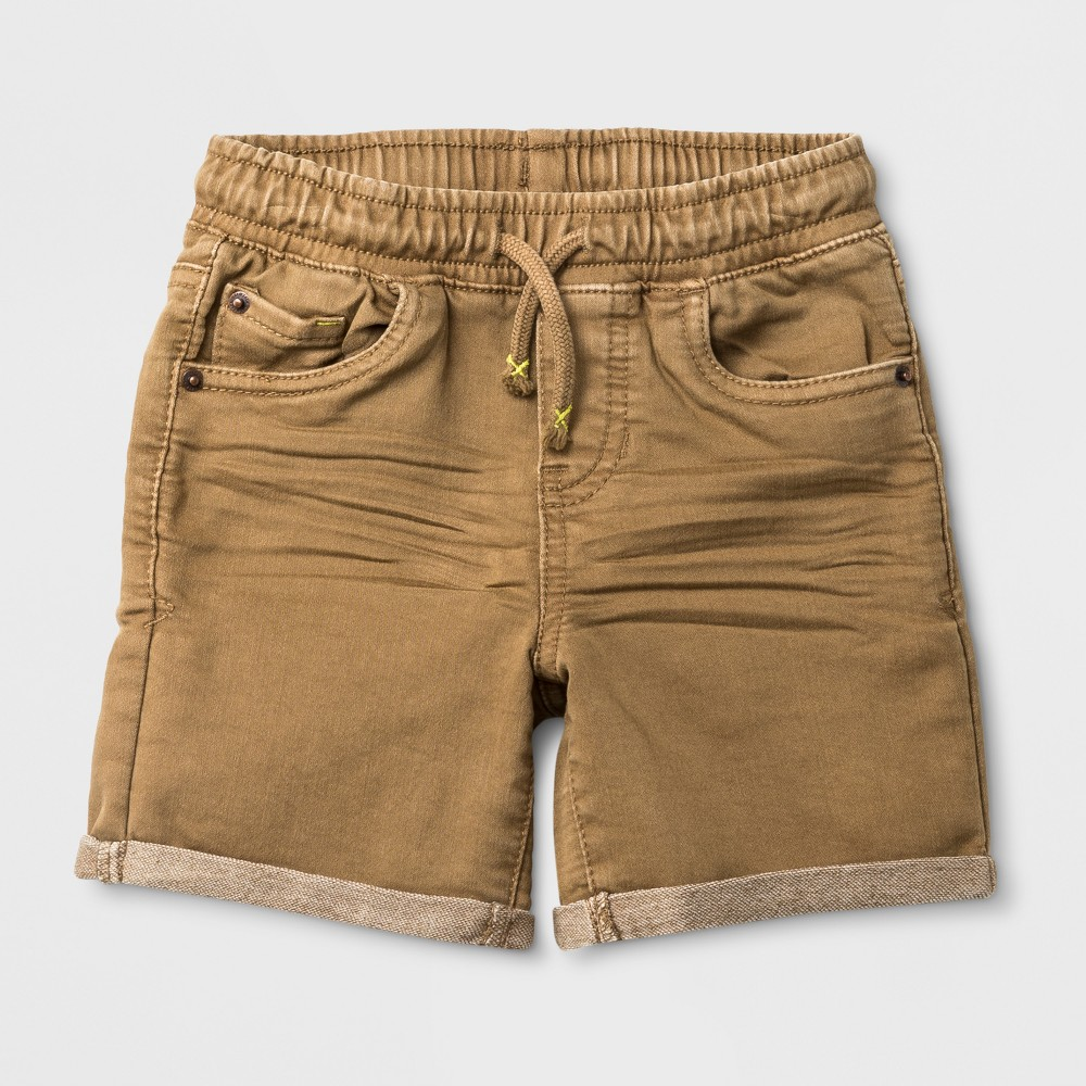 Toddler Boys' Roll Cuff Pull-On Denim Shorts - Cat & Jack Khaki Wash 18M, Beige