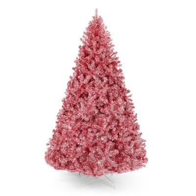 Best Choice Products Artificial Tinsel Christmas Tree Festive Holiday Decoration w/ Stand - Pink