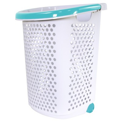 Home Logic Rolling Laundry Hamper - White with Teal Handle