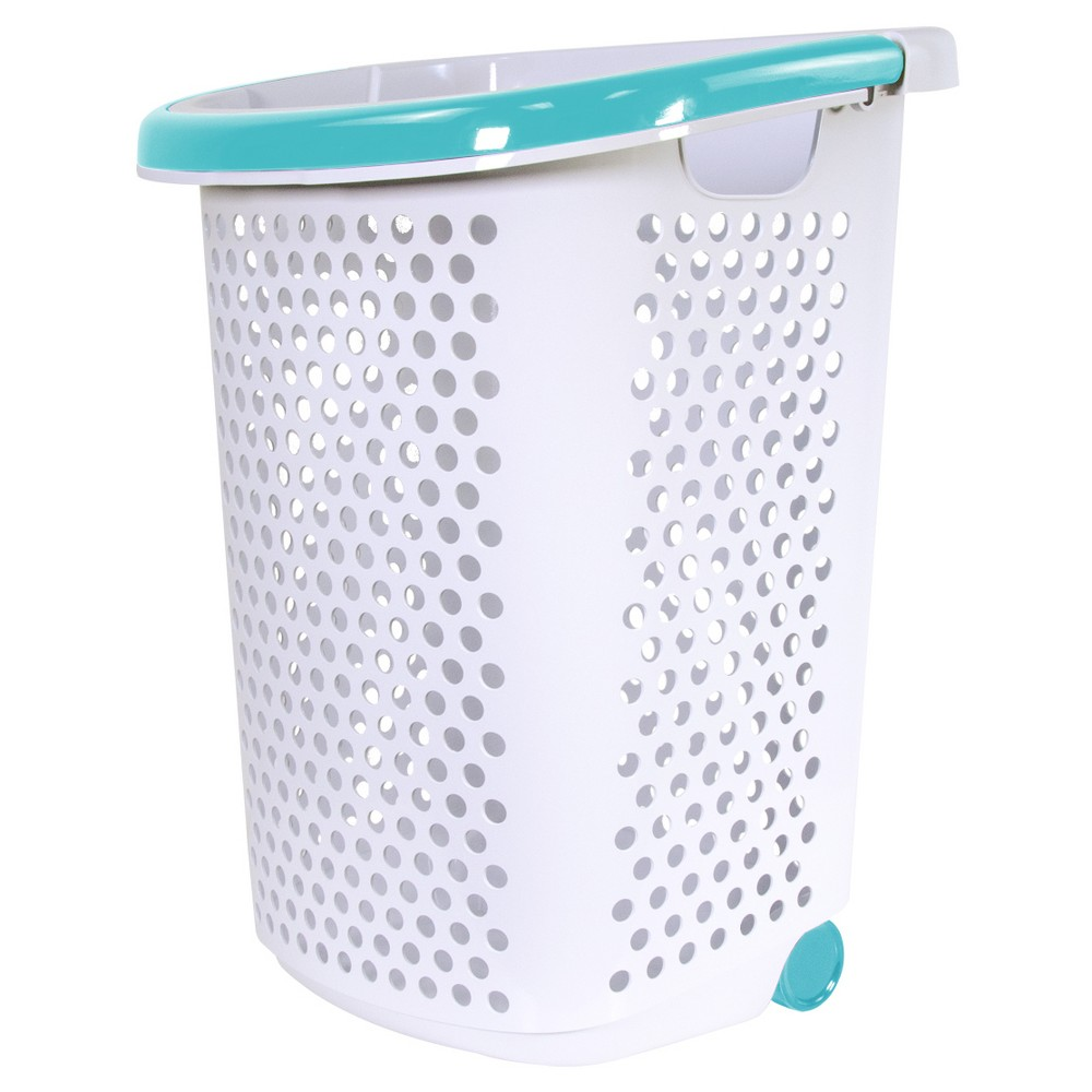 Image of Home Logic Rolling Laundry Hamper - White with Teal Handle