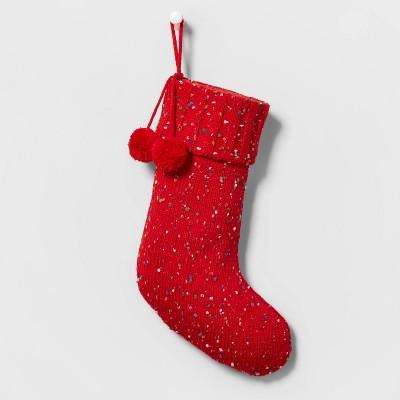 Speckled Knit Christmas Stocking Red - Wondershop™