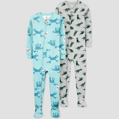 Baby Boys' 2pk Fox/Dino Footed Pajama - Just One You® made by carter's Gray 9M