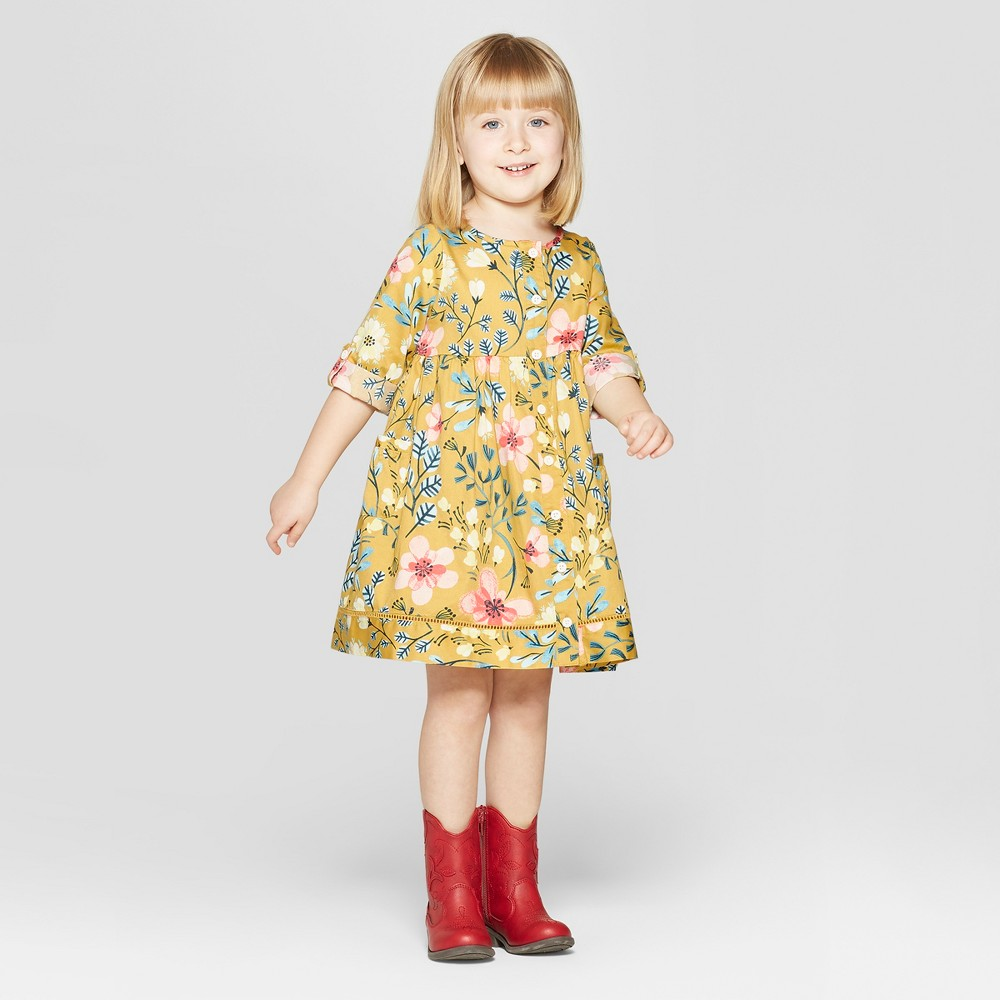 Toddler Girls' 3/4 Sleeve Floral Dress - Genuine Kids from OshKosh Yellow 18M