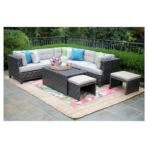 Rachel 8-Piece Sectional Set with Sunbrella Fabric - Ash - image 1 of 5